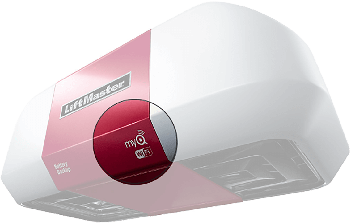 myQ and Wi-Fi logos on the garage door opener